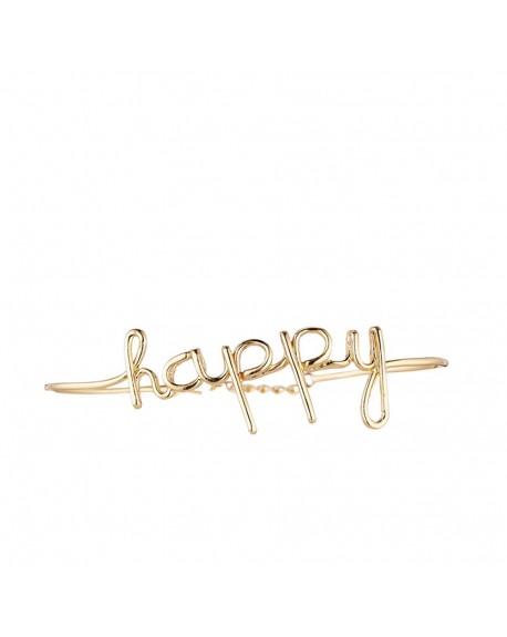 "Bracelet fil lettering ""HAPPY"" doré"