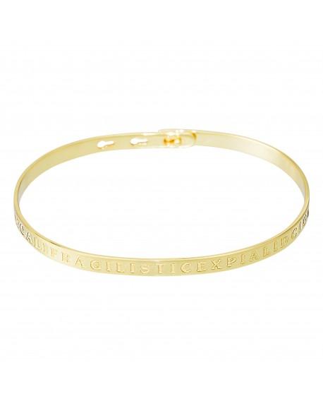 """Bracelet à message """"SUPERCALIFRAGILISTICEXPIALIDOCIOUS"""" doré"""