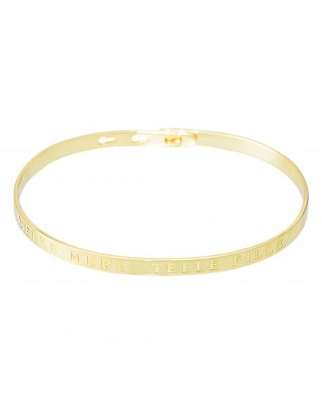 """Bracelet à message """"TELLE MERE, TELLE FILLE"""" doré"""