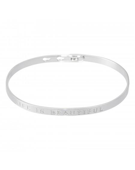 """Bracelet à message """"LIFE IS BEAUTIFUL"""" en Laiton"""