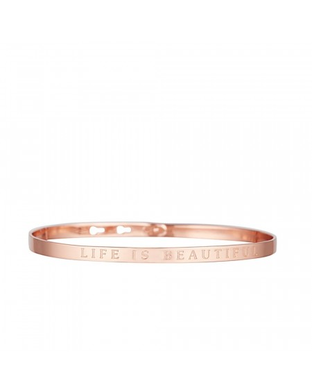 "Bracelet à message ""LIFE IS BEAUTIFUL"" en Laiton rosé"