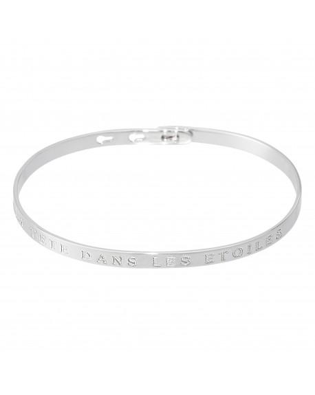 """Bracelet à message """"LA TETE DANS LES ETOILES"""" en Laiton"""