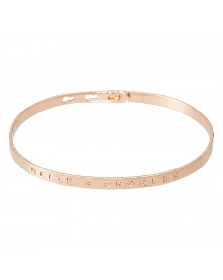 """Bracelet à message """"BELLE À CROQUER"""" rosé"""