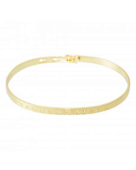 """Bracelet à message """"HAKUNAMATATA"""" doré"""