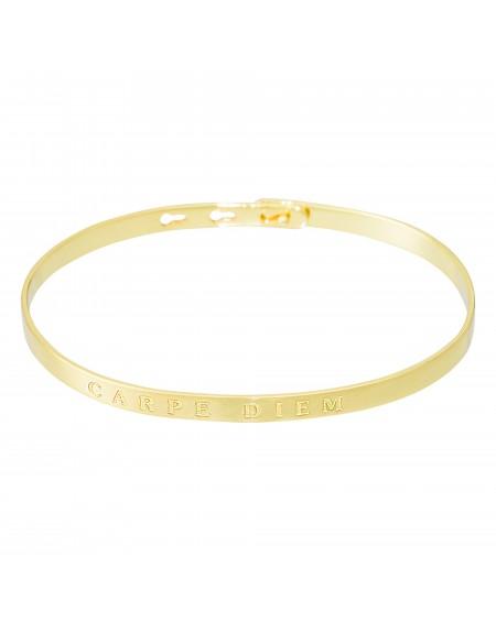 """Bracelet à message """"CARPE DIEM"""" doré"""