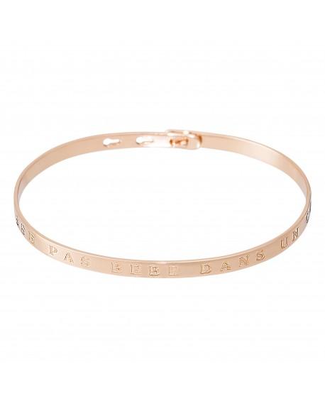 """Bracelet à message """"ON LAISSE PAS BÉBÉ DANS UN COIN"""" rosé"""