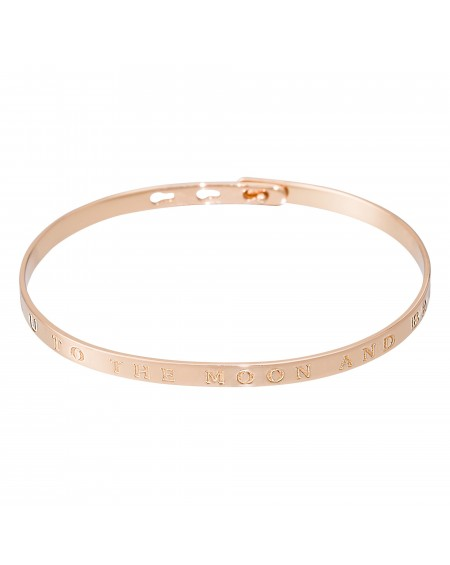 "Bracelet à message ""I LOVE U TO THE MOON AND BACK"" rosé"