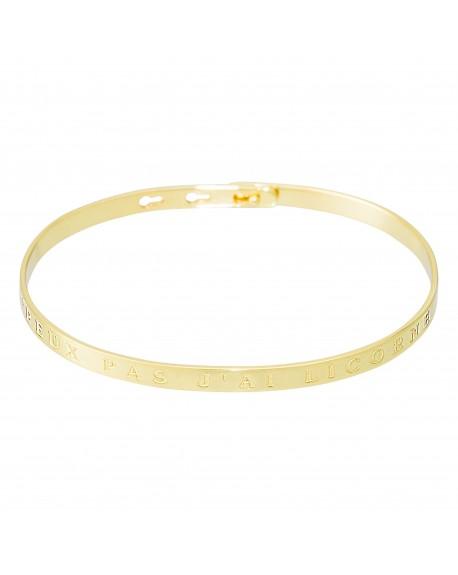 """Bracelet à message """"J'PEUX PAS J'AI LICORNE"""" en Laiton doré"""