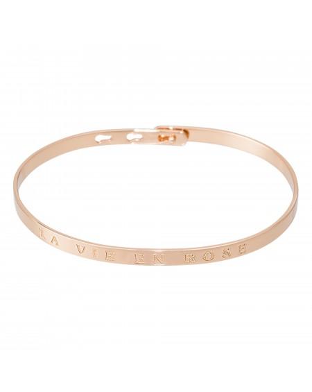"""Bracelet à message """"LA VIE EN ROSE"""" en Laiton rosé"""