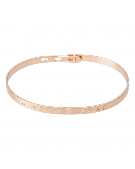 "Bracelet à message ""LA VIE EN ROSE"" rosé"