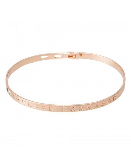 """Bracelet à message """"PRINCESSE CONNASSE"""" rosé"""