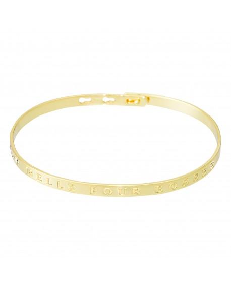 """Bracelet à message """"TROP BELLE POUR BOSSER"""" doré"""
