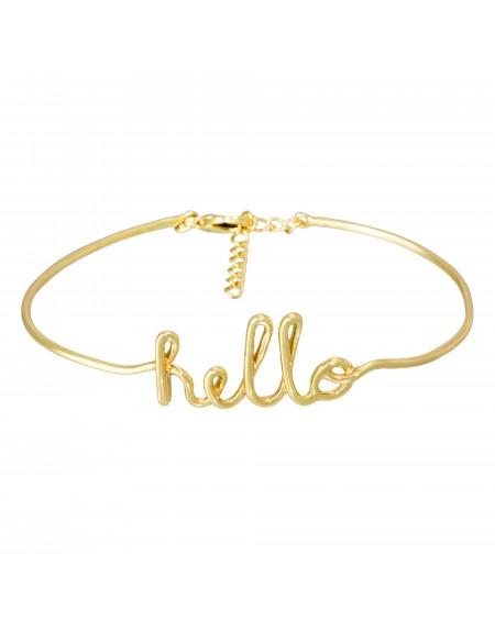 """Bracelet fil lettering """"HELLO"""" doré"""