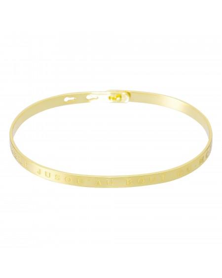 """Bracelet à message """"ENSEMBLE JUSQU'AU BOUT DU MONDE"""" doré"""