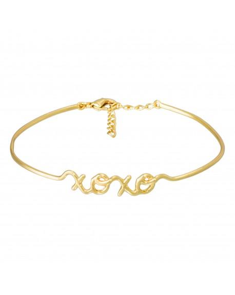 """Bracelet fil lettering """"XOXO"""" doré"""