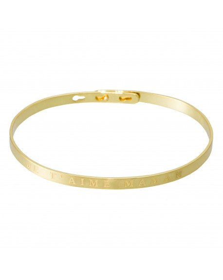 """Bracelet à message """"JE T'AIME MAMAN"""" doré"""