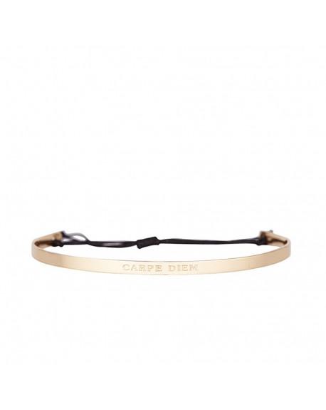 """Bracelet à message """"CARPE DIEM"""", doré fermeture noeud"""