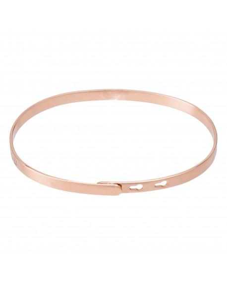 """Bracelet à message """"SANS MESSAGE"""" en Laiton rosé"""