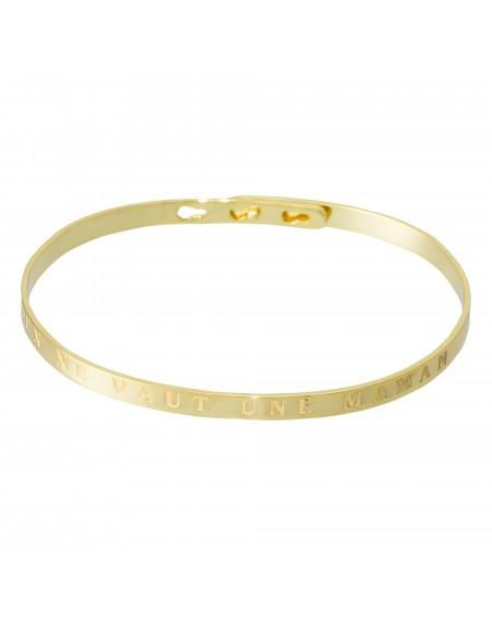 """Bracelet à message """"RIEN NE VAUT UNE MAMAN"""" en Laiton doré"""