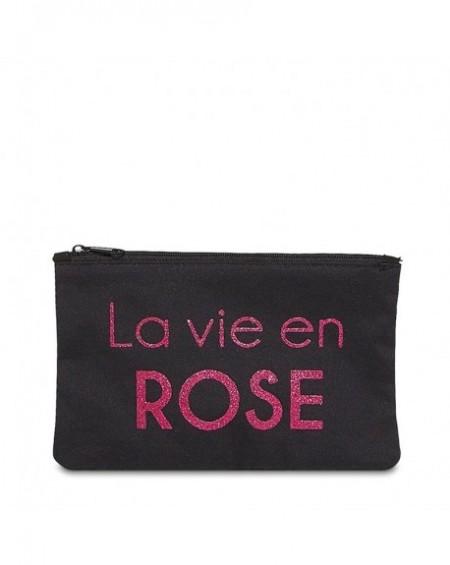 """Pochette à message """" LA VIE EN ROSE"""" Noire et Rose - 17,5 x 11,5 x 1 cm"""