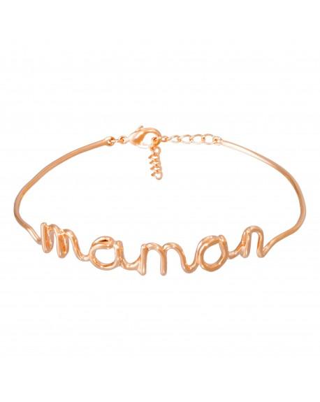 """Bracelet fil lettering """"MAMAN"""" rosé"""