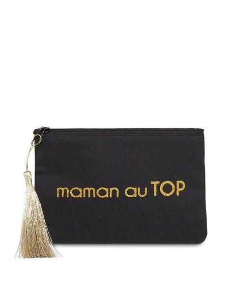 """Pochette à message """" MAMAN AU TOP"""" Noire et Doré - 17,5 x 11,5 x 1 cm"""