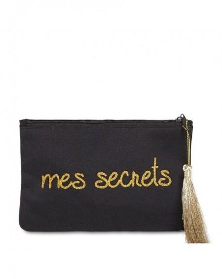 """Pochette à message """" MES SECRETS"""" Noire et Doré - 17,5 x 11,5 x 1 cm"""