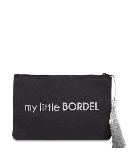 """Pochette à message """" MY LITTLE BORDEL"""" Noire et Argenté - 17,5 x 11,5 x 1 cm"""
