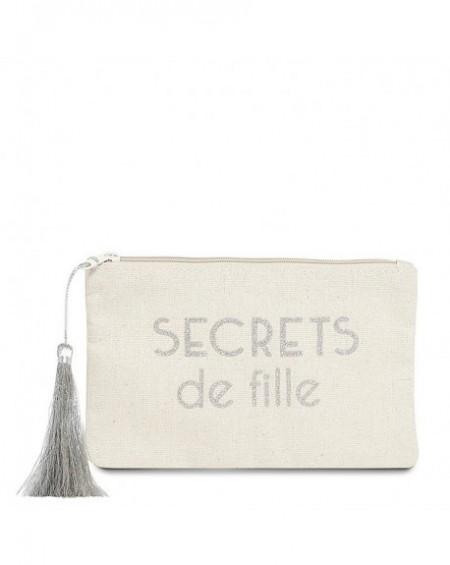 """Pochette à message """" SECRETS DE FILLES"""" Beige et Argenté - 17,5 x 11,5 x 1 cm"""