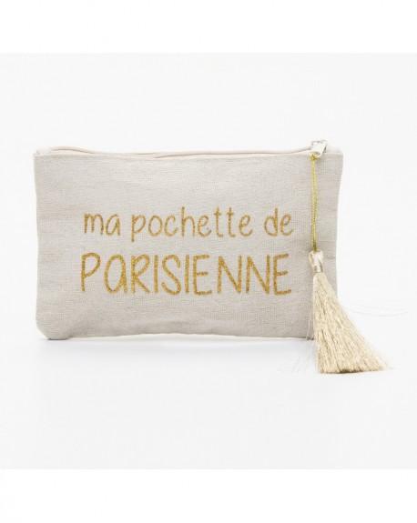 """Pochette à message """" MA POCHETTE DE PARISIENNE"""" Beige et doré - 17,5 x 11,5 x 1 cm"""