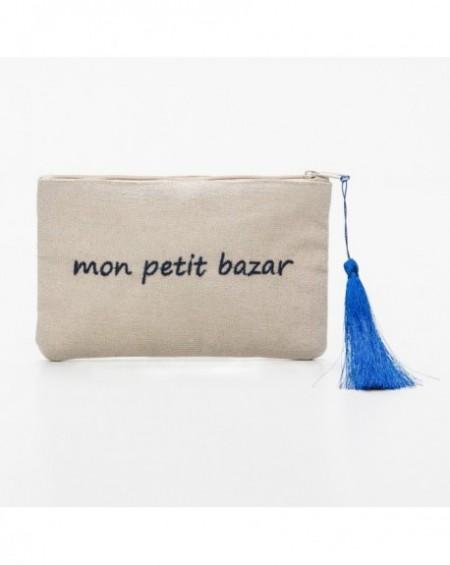 """Pochette à message """" MON PETIT BAZAR"""" Noir et bleue marine - 17,5 x 11,5 x 1 cm"""