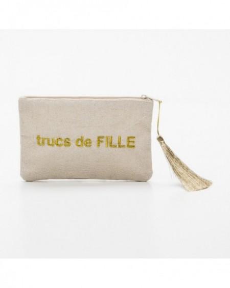 """Pochette à message """" TRUCS DE FILLE """" Beige et doré - 17,5 x 11,5 x 1 cm"""