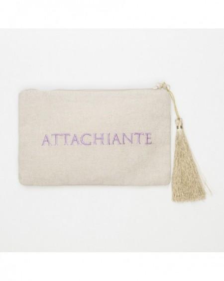 """Pochette à message """" ATTACHIANTE """" Beige et violet - 17,5 x 11,5 x 1 cm"""