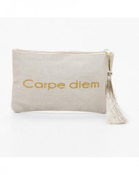 """Pochette à message """" CARPE DIEM """" Beige et doré - 17,5 x 11,5 x 1 cm"""