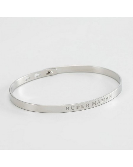 "Bracelet à message ""SUPER MAMAN"" rosé"