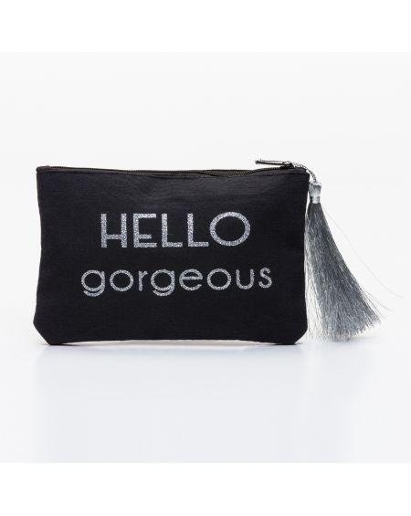"""Petite pochette noire message """"HELLO gorgeous !"""" argenté"""