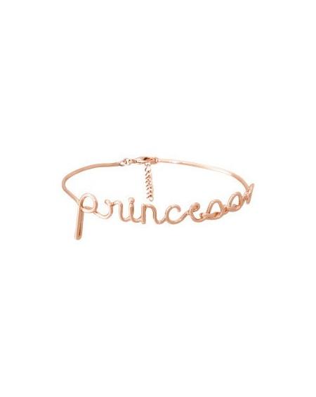 """Bracelet à message """"PRINCESSE"""" en Laiton rosé"""