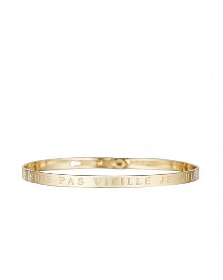 """Bracelet à message """"JE NE SUIS PAS VIEILLE JE SUIS VINTAGE"""" doré"""