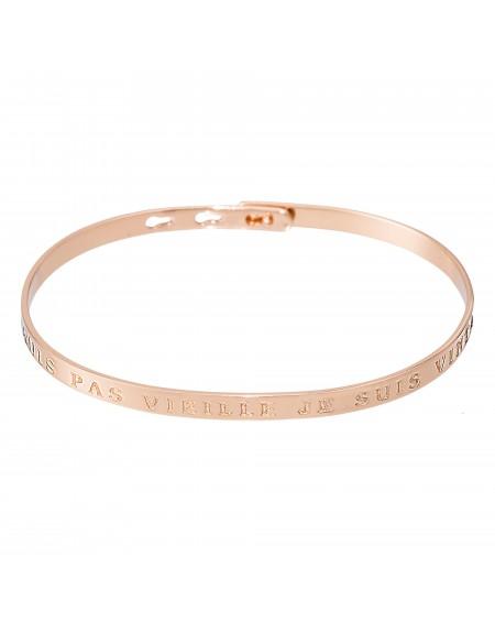 """Bracelet à message """"JE NE SUIS PAS VIEILLE JE SUIS VINTAGE"""" rosé"""