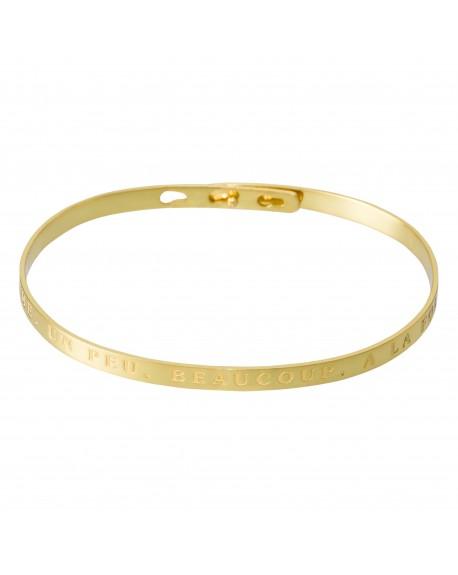 """Bracelet à message """"JE T'AIME, UN PEU, BEAUCOUP, A LA FOLIE"""" doré"""
