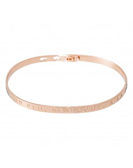 """Bracelet à message """"JE T'AIME, UN PEU, BEAUCOUP, A LA FOLIE"""" en Laiton rosé"""