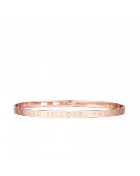 "Bracelet à message ""ALL YOU NEED IS LOVE, YOU'RE ALL I NEED"" rosé"