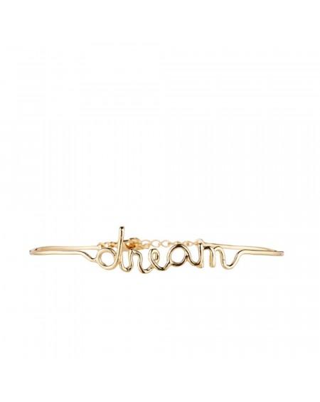 """Bracelet à message """"DREAM"""" en Laiton doré"""