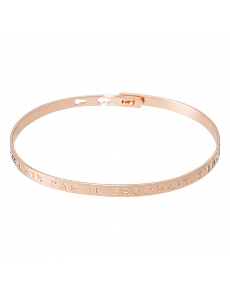 """Bracelet à message """"SI TU N'EXISTAIS PAS IL FAUDRAIT T'INVENTER"""" rosé"""