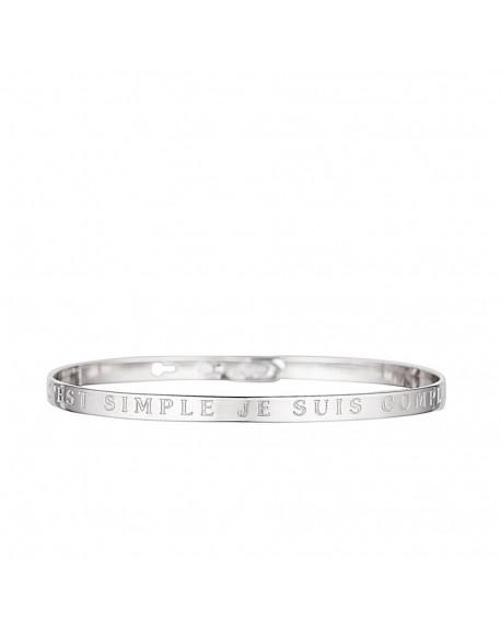 """Bracelet à message """"C'EST SIMPLE JE SUIS COMPLIQUEE"""" en Laiton"""