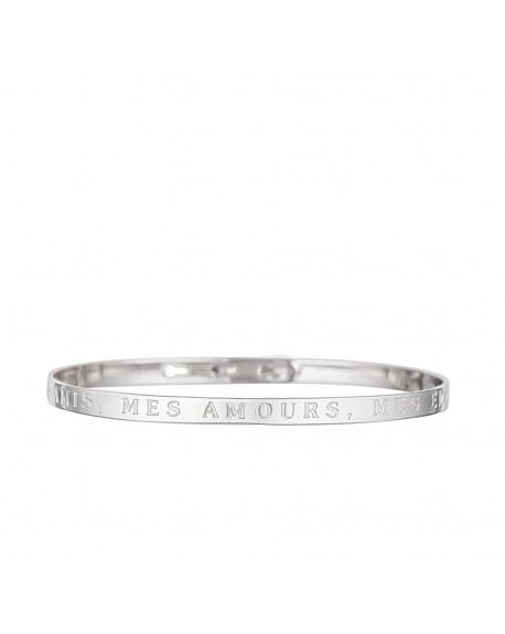 """Bracelet à message """"MES AMIS, MES AMOURS, MES EMMERDES"""""""