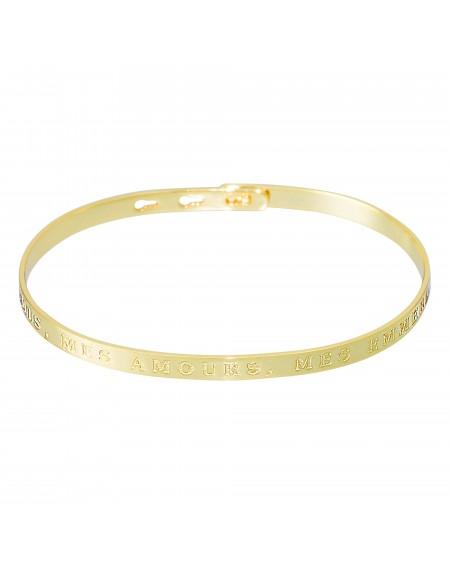 """Bracelet à message """"MES AMIS, MES AMOURS, MES EMMERDES"""" doré"""