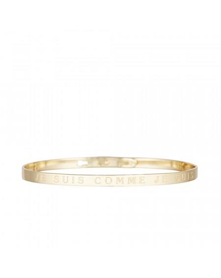 """Bracelet à message """"JE SUIS COMME JE SUIS"""" doré"""