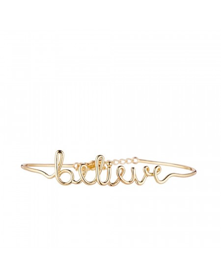 "Bracelet fil lettering ""BELIEVE"" doré"