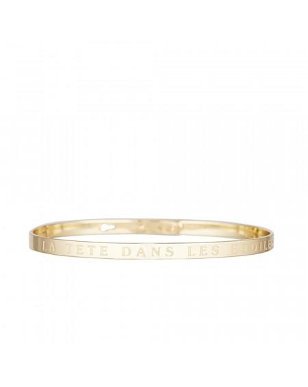 """Bracelet à message """"LA TETE DANS LES ETOILES"""" doré"""